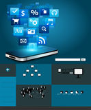 Vector Mobile phone with cloud of application icon Royalty Free Stock Photos