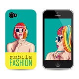 Vector mobile phone cover template with woman wearing colorful Stock Image
