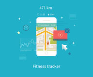 Vector mobile phone - fitness app concept on Royalty Free Stock Images