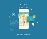 Vector mobile phone - fitness app concept on stock illustration