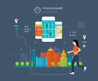 Vector mobile phone - fitness app concept on Stock Photography