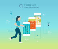 Vector mobile phone - fitness app concept on Royalty Free Stock Image