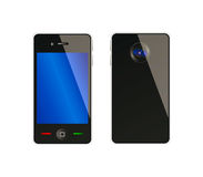 Vector mobile phone from front and back side. With nice camera; isolation over white background Stock Photography