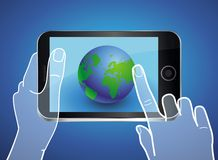 Vector mobile phone with globe icon on the screen Stock Images