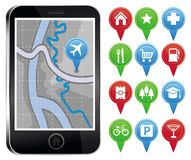 Vector mobile phone with gps map Royalty Free Stock Photography