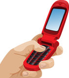 Vector mobile phone in hand. Stock Photo