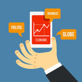Vector mobile phone and hand with financial schedule in flat sty. Le Royalty Free Stock Image