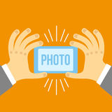 Vector mobile phone and hand in flat style. Royalty Free Stock Photos