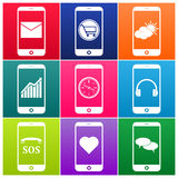 Vector mobile phone icons. Nine colour vector mobile phone icon royalty free stock images