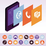 Vector mobile phone with interface screens Stock Images