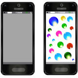 Vector mobile phone. Planet telephone of apricots of egg-plant of greeting of search socially network of stream stock photos