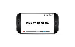 Vector mobile phone playing media video template. Vector Stock Image