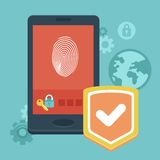 Vector mobile phone security. Concept with icons in flat style - data protection and user identification Royalty Free Stock Image