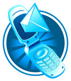 Vector mobile phone with sms Royalty Free Stock Image