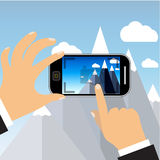 Vector mobile phone with touchscreen. Man taking photograph with digital device - flat icon Stock Photography