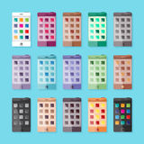 Vector mobile phones or smartphones set in flat style.  Royalty Free Stock Photography