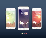 Vector mobile phones with three backgrounds Royalty Free Stock Photography