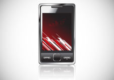 Vector mobile with red background Stock Image