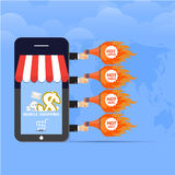 Vector mobile shopping discount concept illustration Stock Images