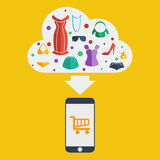 Vector mobile shopping woman Royalty Free Stock Photos