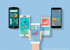 Vector mobile smart phone technology is the business of communication, trading flat design Stock Images