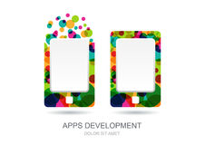 Vector mobile or tablet pc icon built from colorful circles. Abs Stock Photo