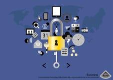 Vector mobile Tablette der Geschäftskommunikations-Technologie und einen Schlüssel und padlock Ikone im flachen Design der Werbun Lizenzfreies Stockbild