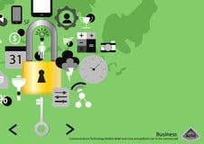 Vector mobile Tablette der Geschäftskommunikations-Technologie und einen Schlüssel und padlock Ikone im flachen Design der Werbun Lizenzfreie Stockfotografie