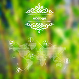 Vector mobile and web interface with ecology icons Royalty Free Stock Photography