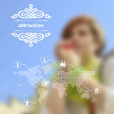 Vector mobile and web interface with landmarks and attraction Royalty Free Stock Photos