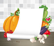 Vector mock up. Paper poster or parchment scroll with vegetables. Restaurant menu or recipe template. Empty curled blank paper sheet on kitchen table. Creative Royalty Free Stock Images