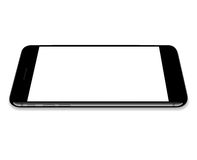 Vector, mock up phone black color lay flat on white screen. Background Stock Image