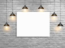 Vector Mock up poster with ceiling lamps white brick wall. Loft workspace concept stock illustration