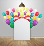 Vector mock up poster in interior background with balloons Royalty Free Stock Photography