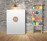 Vector Mock Up Poster With Vintage Hipster Loft Interior Background Royalty Free Stock Image
