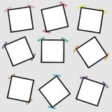 Vector mockup of a blank photo frame on a gray background with a sticky ribbon. stock illustration
