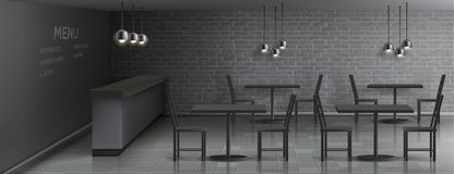 Vector mockup of cafe interior, empty restaurant. Vector mockup of cafe interior with empty bar counter, dinner tables and chairs, ceiling lamps, gray brick wall vector illustration