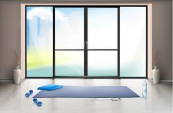 Vector mockup of empty gym hall with glass door. Vector realistic mockup of empty gym hall for fitness trainings with blue yoga mat and dumbells on clean floor royalty free illustration