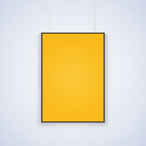 Vector A4 mockup. Empty yellow A4 sized vector paper mockup hanging with paper clips. Show your flyers, brochures, headlines etc with this highly detailed royalty free illustration