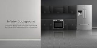 Vector mockup of kitchen room interior. Vector realistic mockup of kitchen room interior with household appliances, refrigerator, build-in stove, black cabinets stock illustration