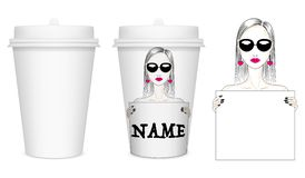 Vector mockup layout of a white closed paper cup for coffee royalty free stock photos