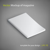 Vector mockup of magazine on gray background. Royalty Free Stock Photos