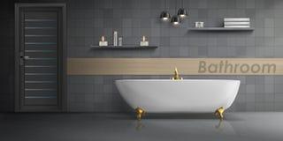 Vector mockup of modern bathroom interior. Vector realistic mockup of bathroom interior with big white ceramic bathtub, golden metal tap, tiled wall with lamps vector illustration
