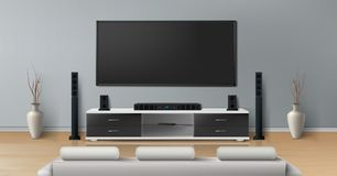 Vector mockup of room with home theater system royalty free illustration
