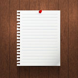 Vector mockup. Sheet of paper with a pin hanging on a brown wooden wall. Royalty Free Stock Images