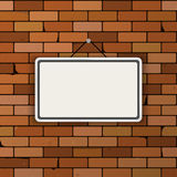 Vector mockup. Simple white sign hanging on a dark red brick wall. Empty blank. Grunge brickwork background Stock Image