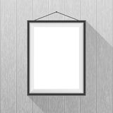 Vector mockup. White poster with black frame hanging Stock Photo