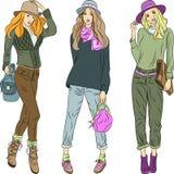Vector modelos superiores das meninas bonitas da fôrma nos chapéus  Imagem de Stock Royalty Free