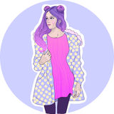 Vector Modemädchen mit dem rosa Haar in einer warmen Jacke Stockfoto