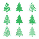 Vector modern abstract Christmas tree background. Linear design. Greeting card with Christmas tree Stock Photo